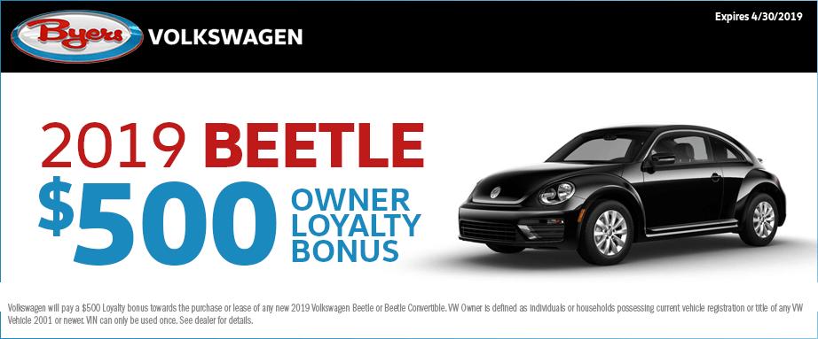 2019 VW Beetle Owner Loyalty Bonus Offer at Byers Volkswagen in Columbus, Ohio