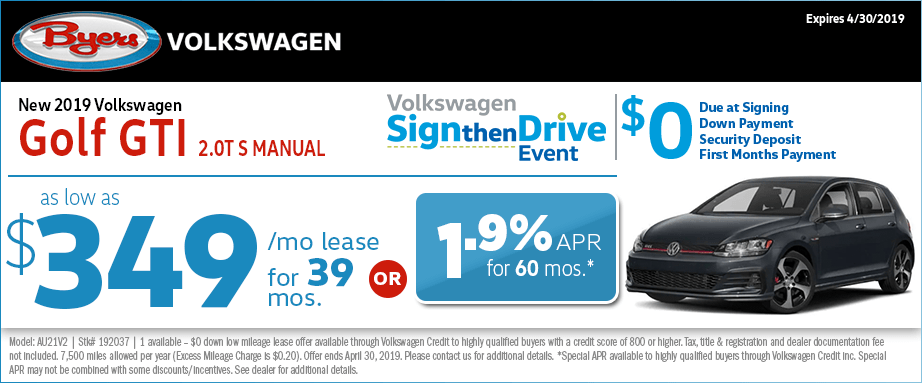 Columbus, OH 2019 VW Golf GTI Sign then Drive Special Offer at Byers Volkswagen in Columbus, Ohio