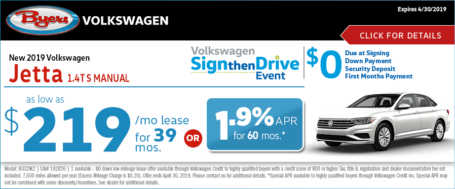 2019 VW Jetta 1.4T S Manual Lease or Low APR Special at Byers Volkswagen in Columbus, Ohio