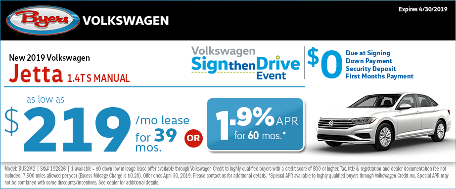 Special Lease or Finance 2019 VW Jetta 1.4T S Manual Offer at Byers Volkswagen in Columbus, OH