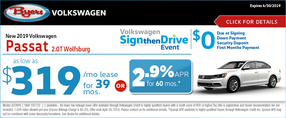 2019 VW 2.0T Wolfsburg Lease or Finance Special at Byers Volkswagen in Columbus, Ohio