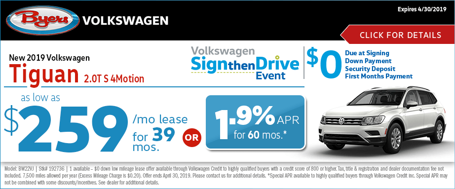 2019 VW Tiguan 2.0T 4Motion Lease or Finance Special at Byers Volkswagen in Columbus, Ohio