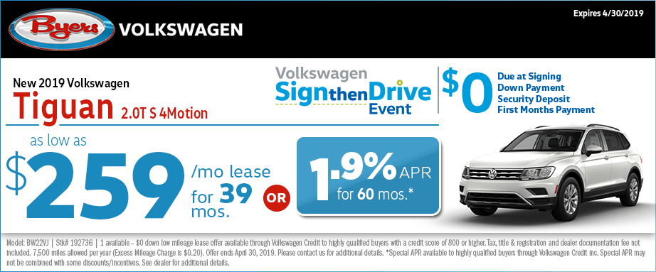 New 2019 VW Tiguan 2.0T S 4Motion Sign then Drive Special at Byers Volkswagen in Columbus, OH