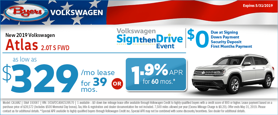 2019 Atlas 2.0T S FWD Lease or Low APR Special at Byers Volkswagen in Columbus, Ohio