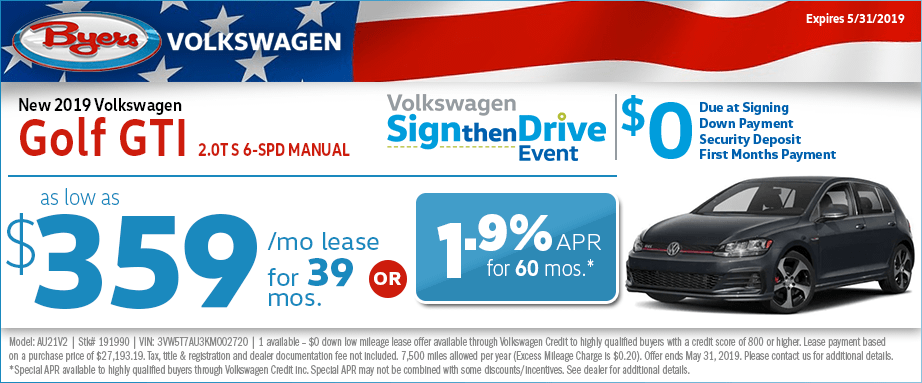 2019 GTI 2.0T S 6-Speed Manual Lease or Finance Special at Byers Volkswagen in Columbus, Ohio
