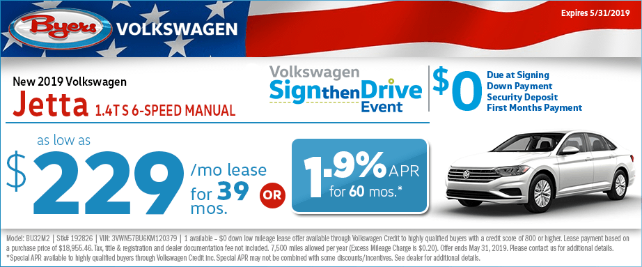 2019 Jetta 1.4T S 6-Speed Manual Low Payment Lease or Finance Special at Byers Volkswagen in Columbus, Ohio