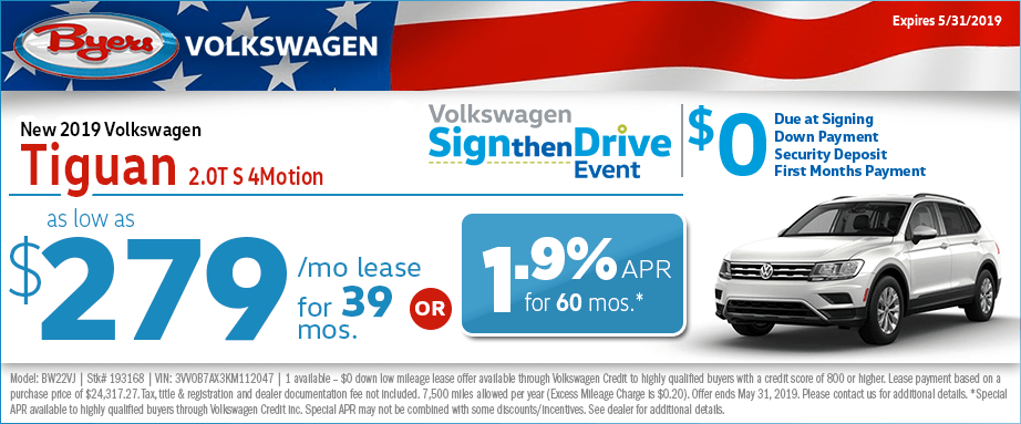 2019 Tiguan 2.0T S 4Motion Lease or Low APR Special at Byers Volkswagen in Columbus, Ohio
