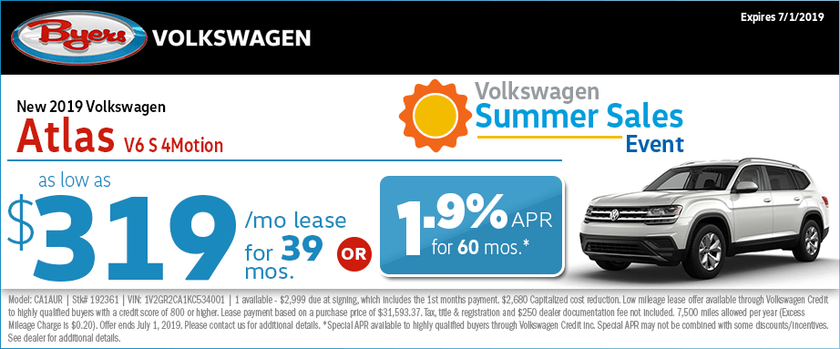 2019 Atlas V6 S 4-Motion Lease Special at Byers Volkswagen in Columbus, Ohio