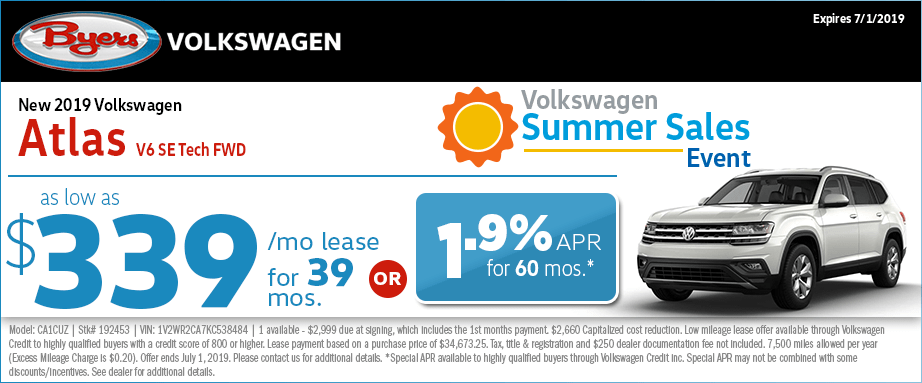 2019 Atlas V6 SE Tech FWD Low Payment Lease Special at Byers Volkswagen in Columbus, Ohio