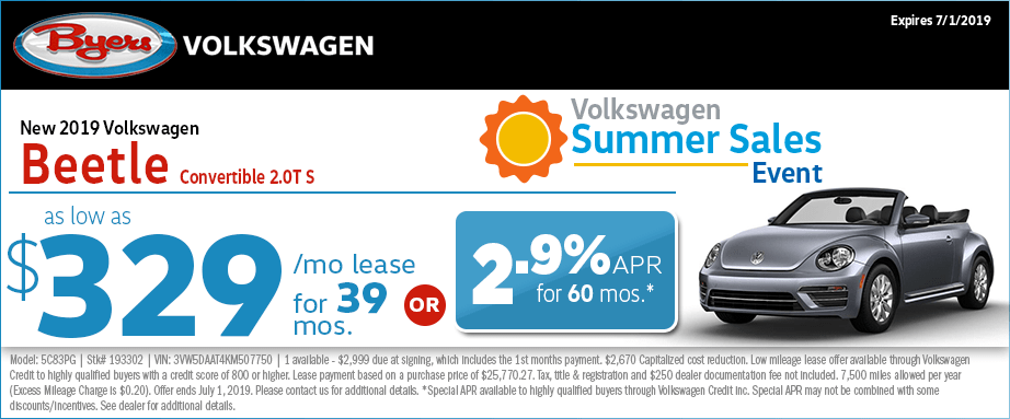 2019 Beetle Convertible 2.0T S Low Payment Lease Special at Byers Volkswagen in Columbus, Ohio