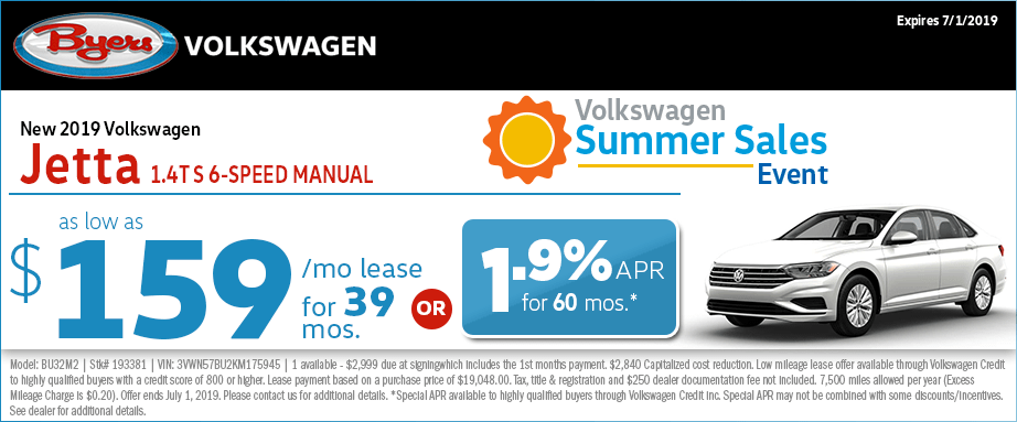 2019 Jetta 1.4T S 6-Speed Manual Lease Special at Byers Volkswagen in Columbus, Ohio