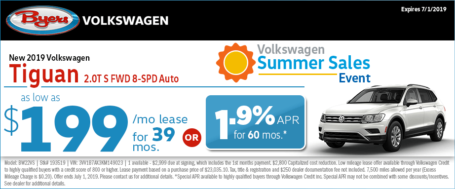 2019 Tiguan 2.0T S FWD 8-Speed Automatic Low Payment Lease Special at Byers Volkswagen in Columbus, Ohio