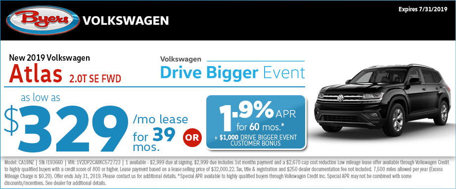 2019 Atlas 2.0T SE FWD Lease or Low APR Special at Byers Volkswagen in Columbus, Ohio