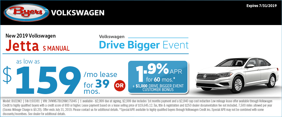 2019 Volkswagen Jetta S Manual Lease or Low APR Special at Byers Volkswagen in Columbus, Ohio
