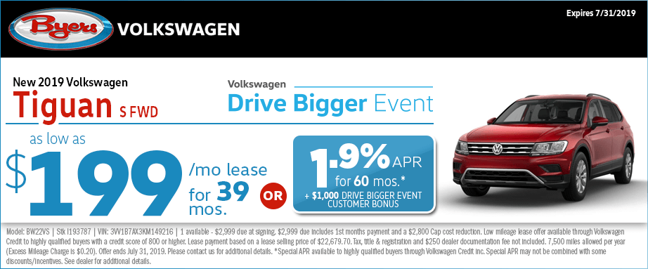 2019 Volkswagen Tiguan S FWD Lease or Finance Special at Byers Volkswagen in Columbus, Ohio