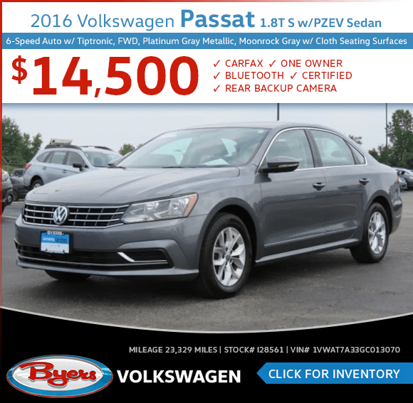 2016 Volkswagen Passat 1.8T S with PZEV Sedan Pre-Owned Special in Columbus, OH