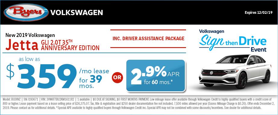 2019 Volkswagen Jetta GLI 2.0T 35th Anniversary lease and finance special offers