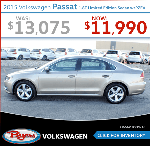 Save on this Pre-Owned 2015 Volkswagen Passat 1.8T Limited Edition w/PZEV Sedan special in Columbus, OH