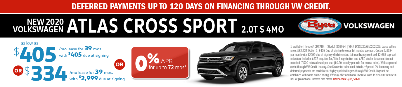 2020 Volkswagen Atlas Cross Sport 2.0T S 4MO Low Payment Lease or Finance Special in Columbus, OH