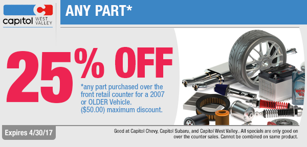 Come save 25% On 2007 model year or Older Parts in Dallas, OR