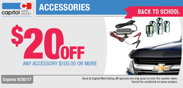 Save with back to school savings on any accessory at Capitol West Valley in Dallas, OR