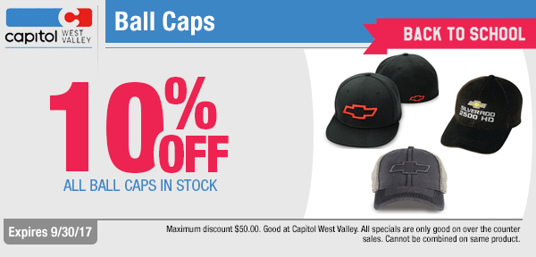 Save on genuine branded ball caps at Capitol West Valley in Dallas, OR