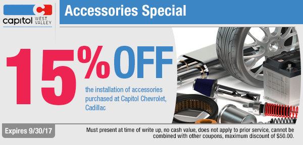 Save up to 15% off OEM Accessories at Capitol Chevrolet West Valley
