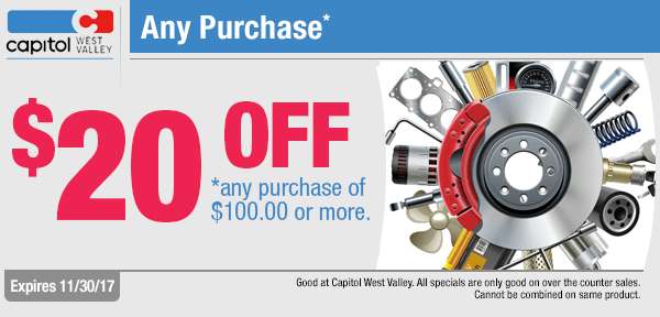 Spend a $100 or More on Parts and Get $20 Off at Capitol West Valley in Dallas, OR