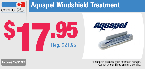 Save on an Aquapel Windshield Treatment from our service department at Capitol West Valley in Dallas, OR