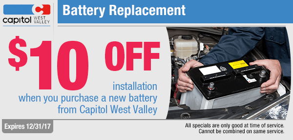 Battery Replacement savings from our service department at Capitol West Valley in Dallas, OR