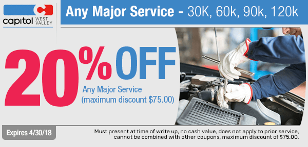 Any Major Service - 30k, 60k, 90k, 120k Special at Capitol West Valley in Dallas, OR