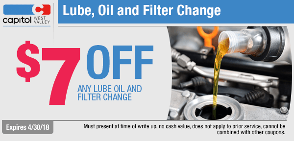 Lube, oil, and filter change service special at Capitol West Valley in Dallas, OR