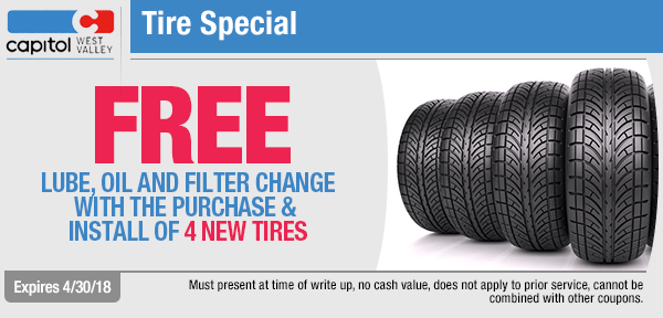 Free lube, oil, and filter change with the purchase of 4 new tires service special at Capitol West Valley in Dallas, OR
