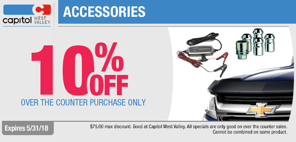 Save on 10% Off On All Accessories with this month's parts special from our parts department at Capitol West Valley in Dallas, OR