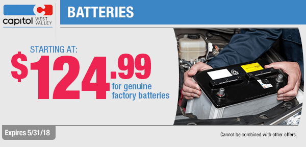 Save on Genuine OEM Batteries with this month's parts special from our parts department at Capitol West Valley in Dallas, OR