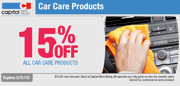 Save on 15% Off On All Car Care Products with this month's parts special from our parts department at Capitol West Valley in Dallas, OR