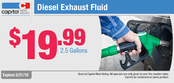 Save on Diesel Exhaust Fluid with this month's parts special from our parts department at Capitol West Valley in Dallas, OR