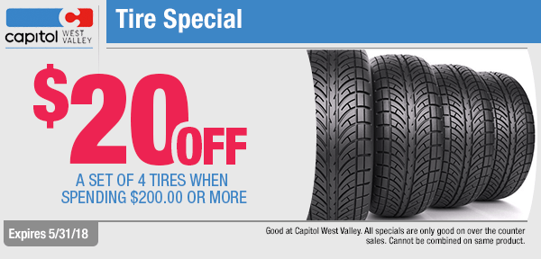 Save on A Set Of Four Tires with this month's parts special from our parts department at Capitol West Valley in Dallas, OR