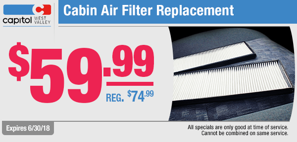 Save with our cabin air filter replacement service special from our service department at Capitol West Valley in Dallas, OR