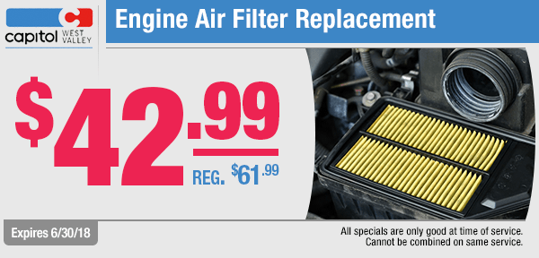 Save with our engine air filter replacement service special from our service department at Capitol West Valley in Dallas, OR