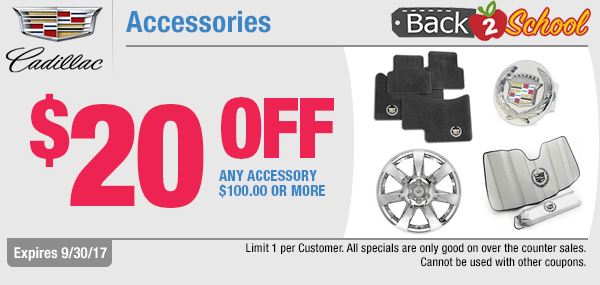 For a limited time, save with our back to school savings on Accessories with this genuine Cadillac parts special coupon at Capitol Cadillac