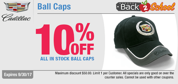For a limited time, save with our back to school savings on Cadillac ball caps with this genuine Cadillac parts special coupon at Capitol Cadillac