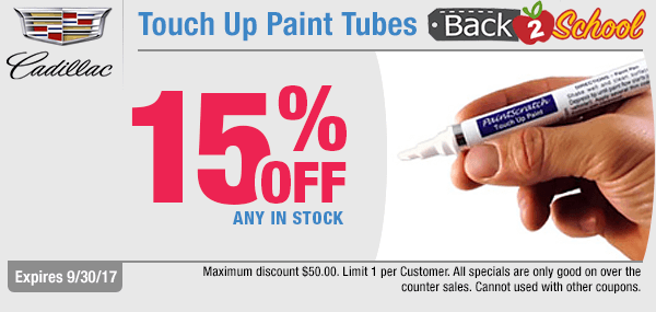 For a limited time, save with our back to school savings on touch up paint with this genuine Cadillac parts special coupon at Capitol Cadillac