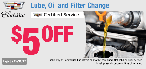 Get special savings on a lube, oil, & filter change service at Capitol Cadillac in Salem, OR
