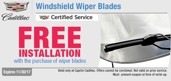 Get free installation on a windshield wiper blade service at Capitol Cadillac in Salem, OR