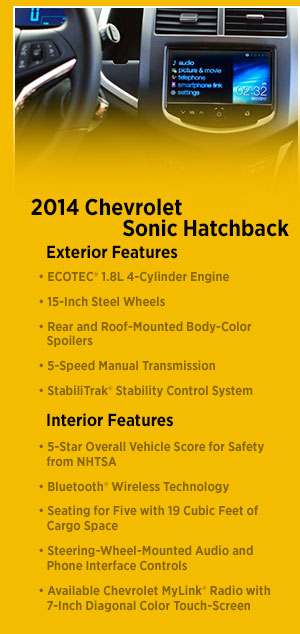 New 2014 Chevrolet Sonic Model Information | Chevy Sonic Features