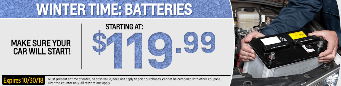 Save with this month's Winter Time Battery parts special from our parts department at Capitol West Valley in Dallas, OR