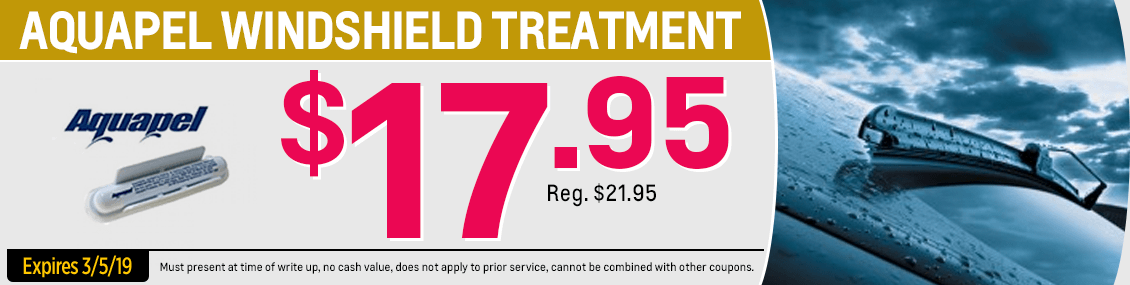 Save on our Aquapel Windshield Treatment service special from our service department at Capitol West Valley in Dallas, OR