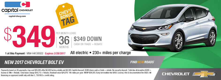 2017 Chevrolet Bolt EV Lease Special in Salem, OR