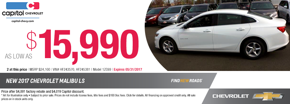 New 2017 Chevrolet Malibu LS Special Purchase Offer in Salem, Oregon